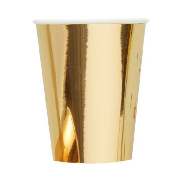 Metallic Gold Paper Cups - pack of 8